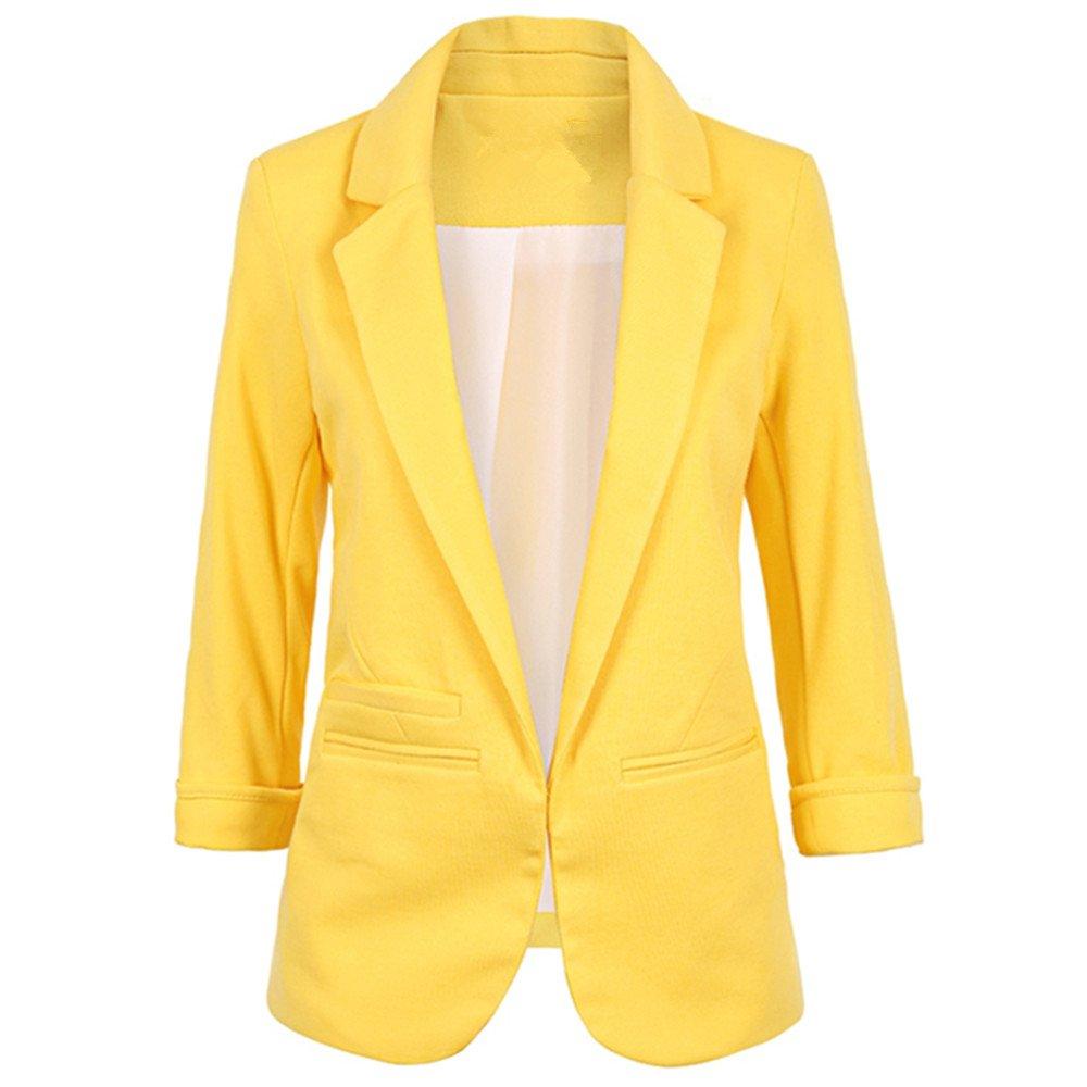 Lrud Women's Fashion Cotton Rolled Up 3/4 Sleeve Slim Office Blazer Jacket Suits Yellow XL