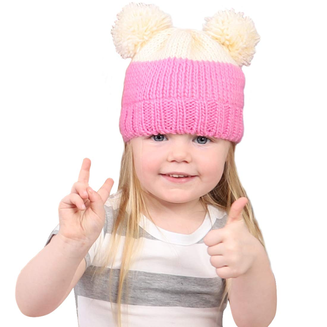 Klyersin Baby Beanie Hat Winter Spring Warm Pom Pom Cap Bear-Like Cute Soft Thick Knit for Toddler Kids