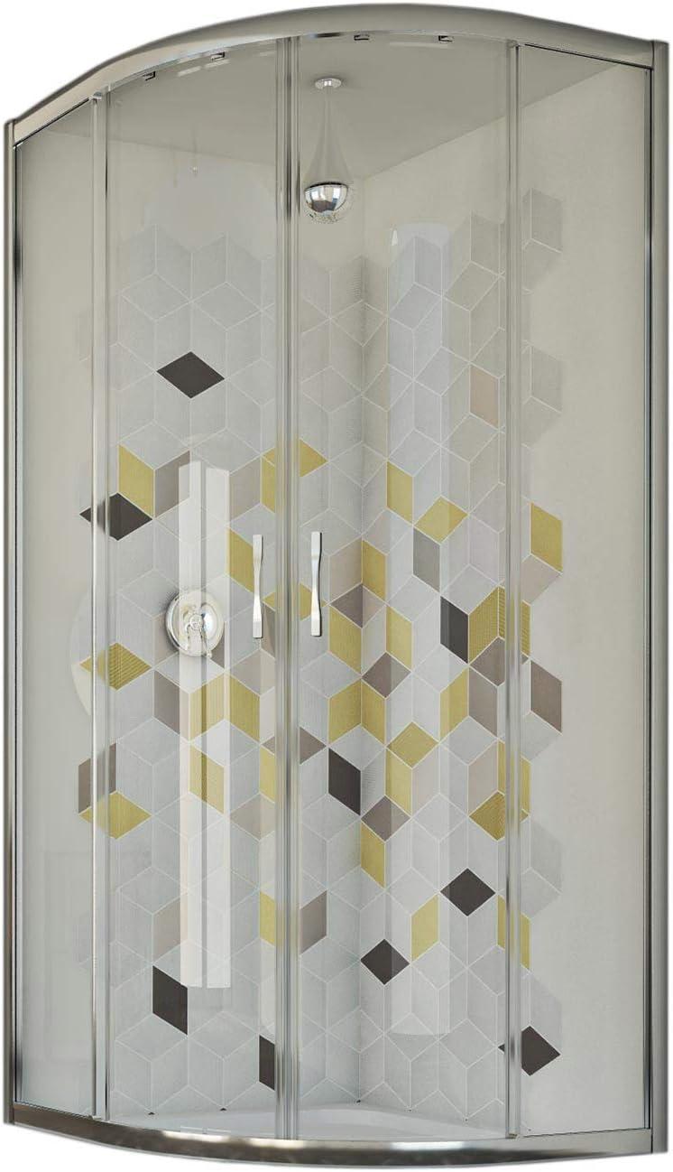 Idralite Mampara de Ducha Semicircular 80x80 CM H198 Vidrio Transparente Mod. Evolution: Amazon.es: Hogar