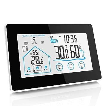 DANG&*SHOP Radio estación meteorológica Sensor de Exterior, termómetro Digital higrómetro para Interior y