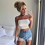 Sexy Women Tops,Summer Strapless Elastic Boob Solid