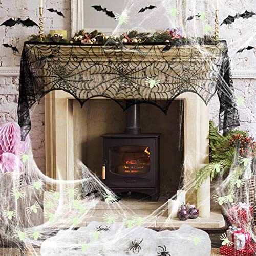Halloween Decoration Fireplace Mantel Scarf 20 Pcs 3D Scary Bats Wall Stickers Stretch Spider Web Indoor & Outdoor 4 Pcs Fake Black Spiders 50 Pcs Glow in the Dark Fake Spiders for Halloween Party]()