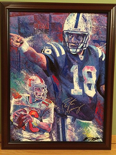 Peyton Manning Hand Signed - Peyton Manning Signed Bill Lopa Hand Embellished Canvas Denver Broncos Super Bowl Champion Colts Football