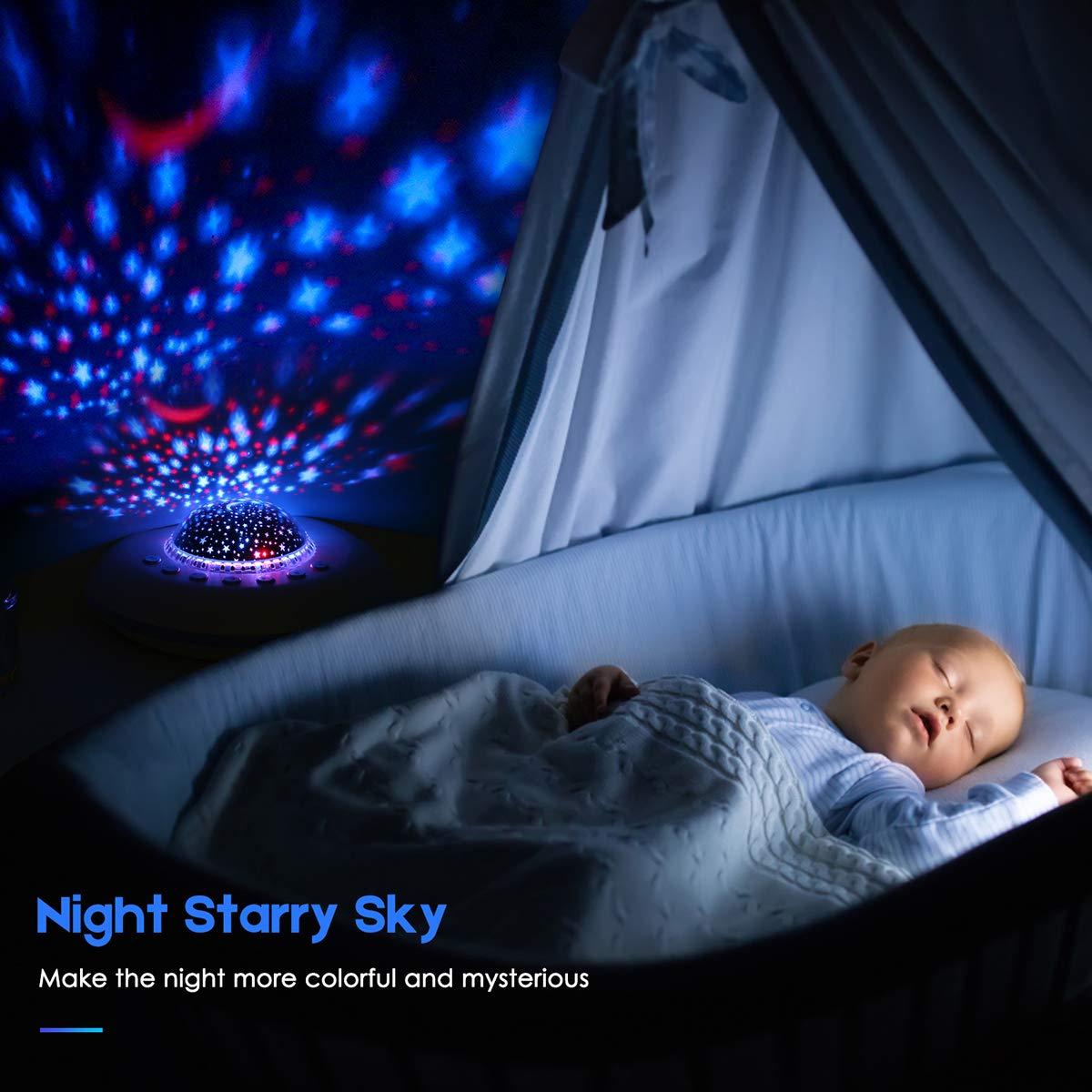 Sternprojektor-Nachtlicht White Noise Machine mit 20 non-looping beruhigende Kl/änge Nachtlicht-Lampenprojektor f/ür Baby Kinderzimmer-Deko,Timer-Funktion Batterie oder USB-Adapter