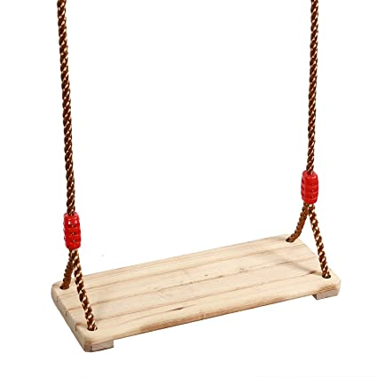 Kinjoek Wooden Swing Hanging Wooden Tree Swings Seat Adjustable 48 43 To 83 86 Inches Cable 330 Lbs Capacity Birch Wood Durable Sturdy Swings For
