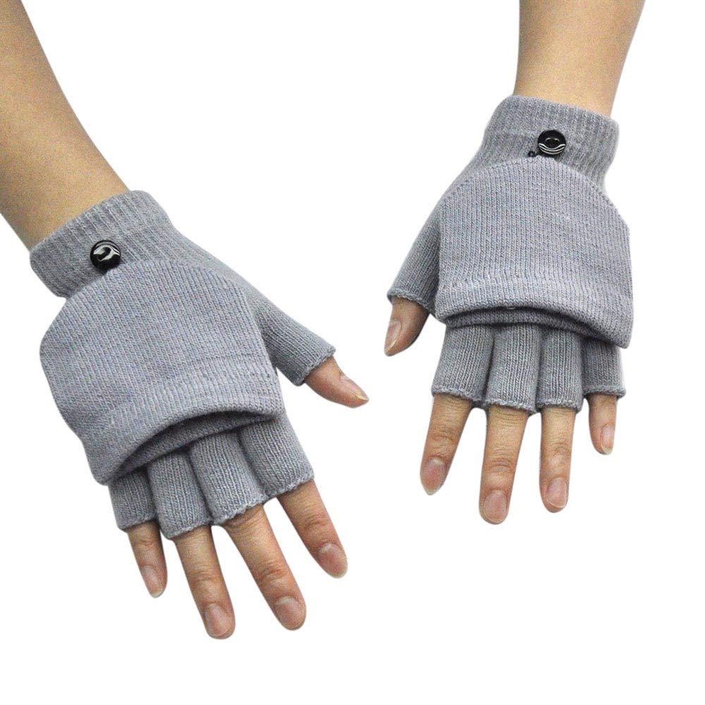 Unisex Men Women Knit Winter Fingerless Gloves Kids Convertible Flap Cover Warm Mitten Flip Cover Gloves