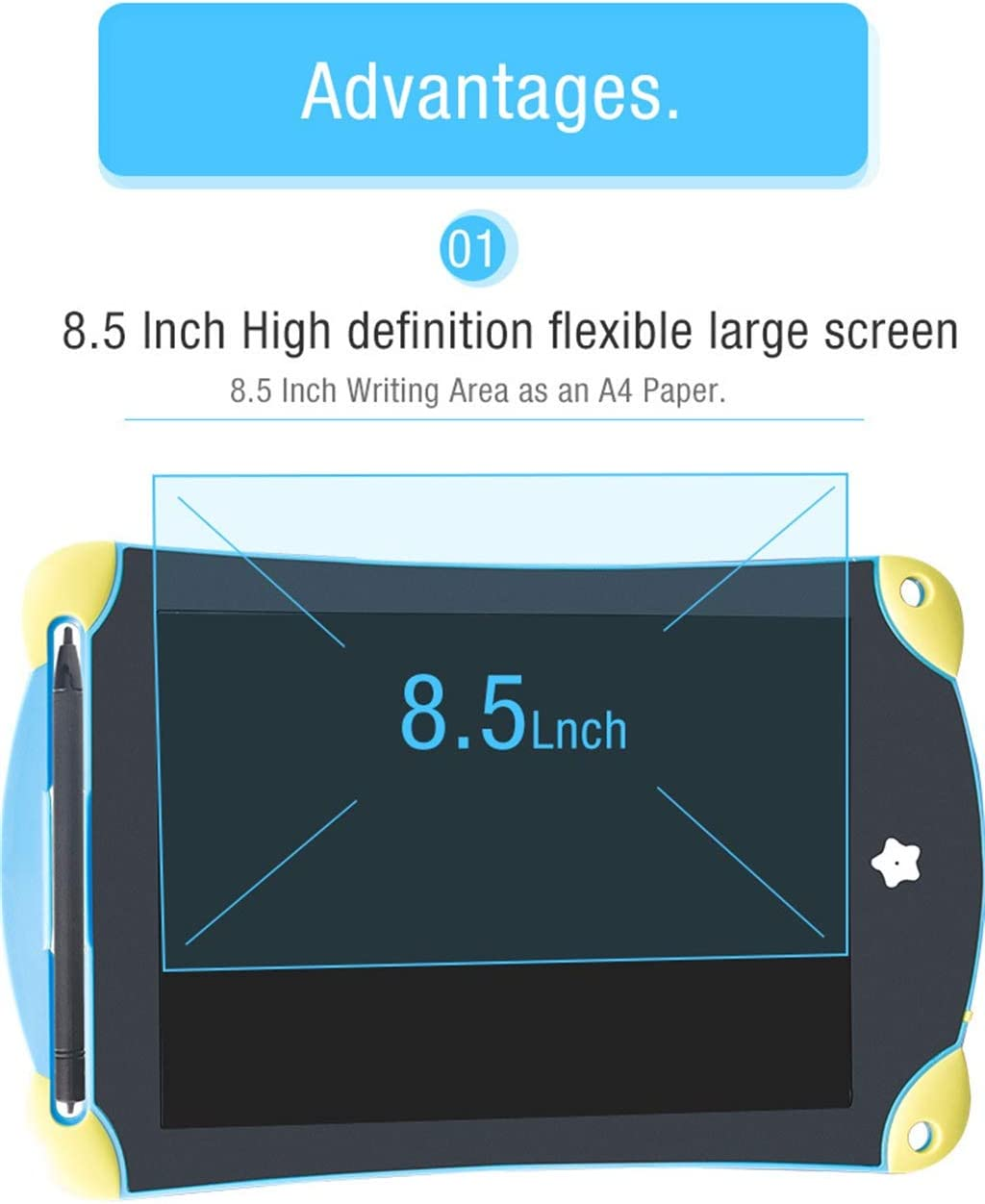 8.5 Inch LCD Tablet//Light Energy Small Blackboard Easy to Carry Color Handwriting Childrens Graffiti Word Gift