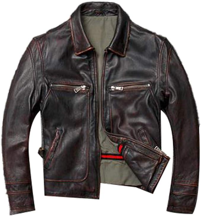 男性牛革コート、冬の暖かい本物のレザージャケット、ビンテージスタイルのレザー服