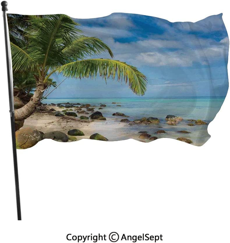 AngelSept Polyester Garden Flag House Banner,Romantic Beach Tranquil Scene Palm Trees Caribbean Island Nature Photography,3x5 ft,Decoration Flag for Wedding Party Home