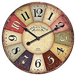 Eruner 12-inch Vintage Wood Wall Clock - France Paris Colourful French Country Tuscan Style Non-Ticking Silent Wooden Wall Clock (#01)