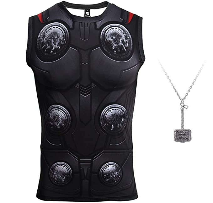 2d7625e4d70de 1Bar Thor Sleeveless Superhero Compression Shirt Dri-fit Running Workout  Gym Shirt Gift Plus Free Thor Hammer Necklace