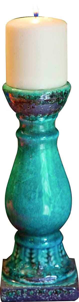 MW Ceramic Candle Holder Turquoise Small Set of2 3.5X3.5X10