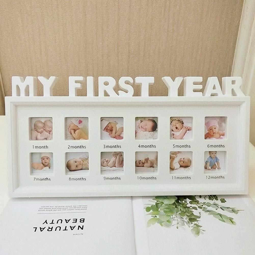 para ni/ños y ni/ñas multifuncional 12 meses Marco de fotos de Lnimikiy para mostrar recuerdos de PVC para beb/és y ni/ños reci/én nacidos para mostrar mi primer a/ño de decoraci/ón del hogar