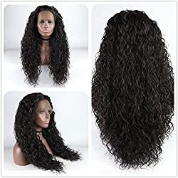 Long Loose Curly Lace Front Wig Dark Brown Hair Heat Resistant Fibers Loose Curl Synthetic Lace Front Wig Glueless Half Hand Tied For All Women 24inch (Dark Brown)