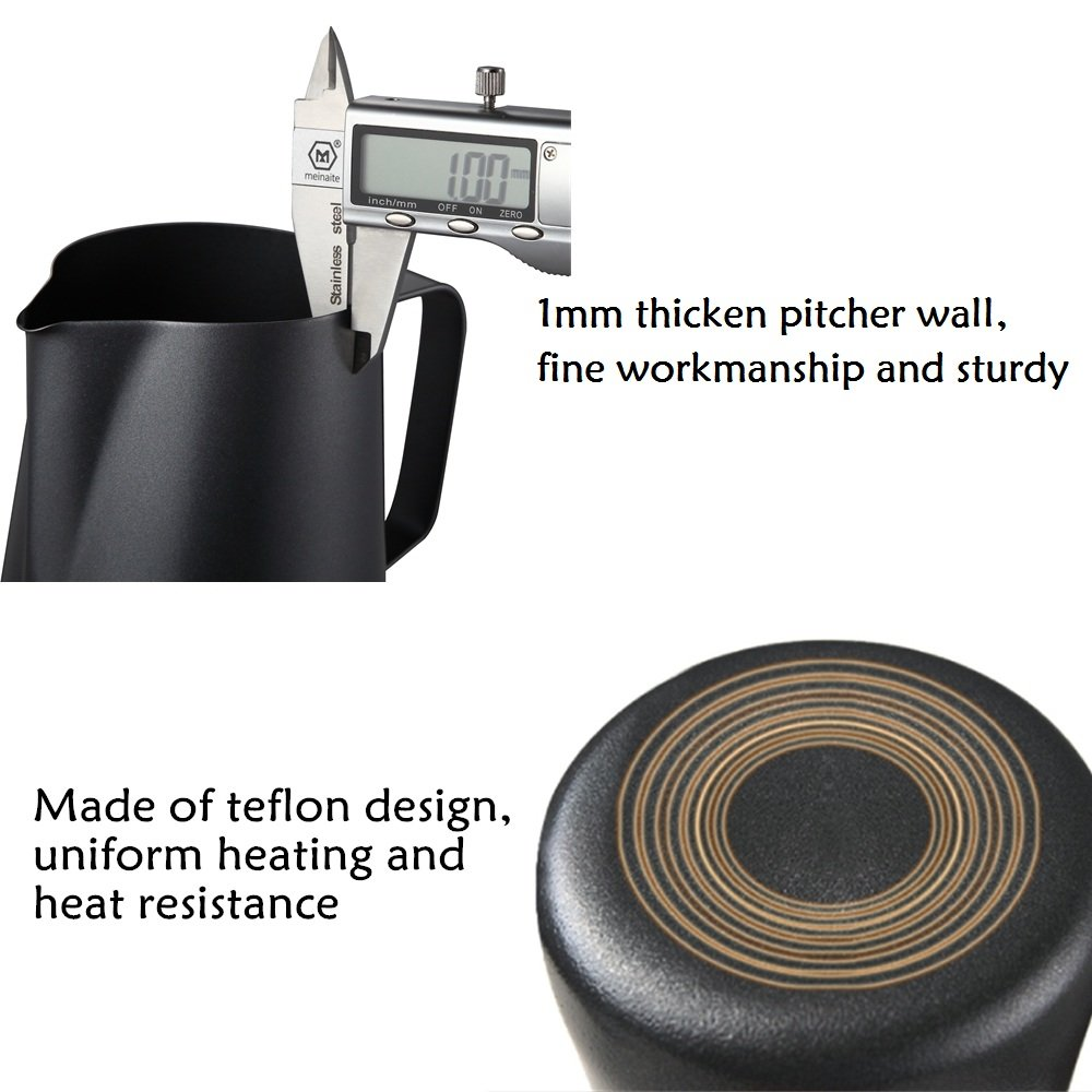 Milk Frothing Pitcher With Integrated Thermometer, 20oz/600ml Stainless Steel Non-Stick Teflon Milk Coffee Cappuccino Latte Art Barista Pitcher Milk Jug Cup,With Decorating Art Pen & Microfiber Cloth by Wolltoll (Image #6)