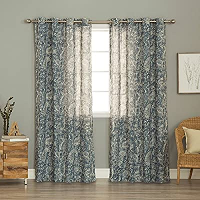"""Best Home Fashion Linen Blend Printed Grommet Top 84-inch Curtain Panel Pair - Measurement : Each panel measures 54"""" W x 84"""" L; Set measures 108"""" W x 84"""" L Materials: 80% Polyester, 20% Linen Care instructions: Machine Washable - living-room-soft-furnishings, living-room, draperies-curtains-shades - 61qZMgZaMHL. SS400  -"""