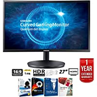 Samsung 27 Black Curved LED 1920x1080 16:9 144hz Gaming Monitor - LC27FG70FQNXZA + Elite Suite 17 Standard Software Bundle (Corel WordPerfect, Winzip, PDF Fusion,X9) + 1 Year Extended Warranty