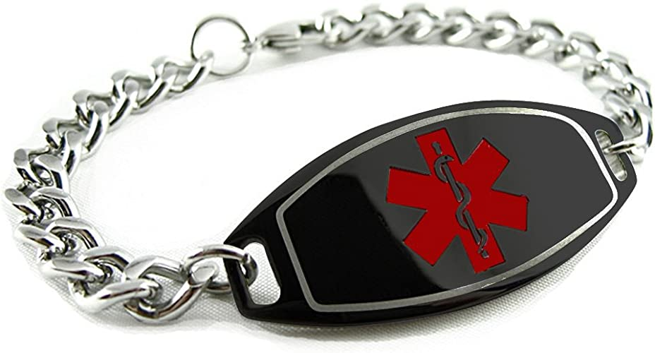 Pre-Engraved /& Customized Blood Type AB Bracelet My Identity Doctor Red Black//White Millefiori Glass Pattern