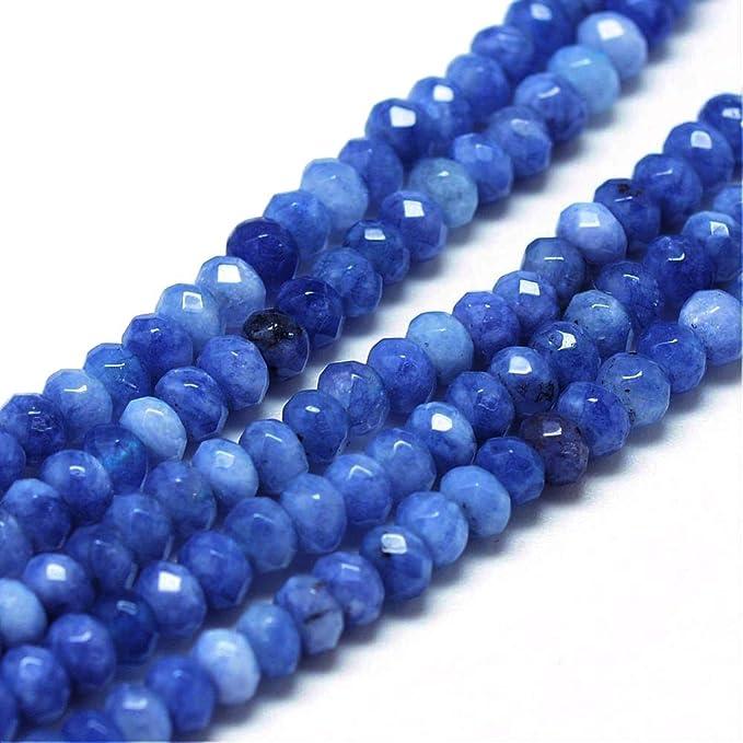 Perlin - 30stk Edelstein Achat Perlen Blau 4mm Rondell Facettiert Natursteine, Halbedelstein, Schmuckstein, Schmuckperlen für