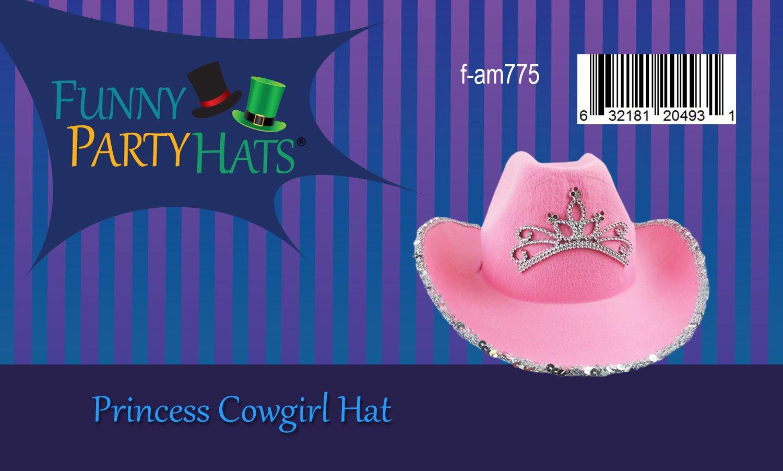 Sparkling Princess Tiara Pink Cowboy Hat In Adult Size Pink Adult Blinking Tiara Cowboy Hat