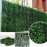 ULAND 6 Piece Greenery Artificial Boxwood Panel Privacy Fence Screen Outdoor Décor