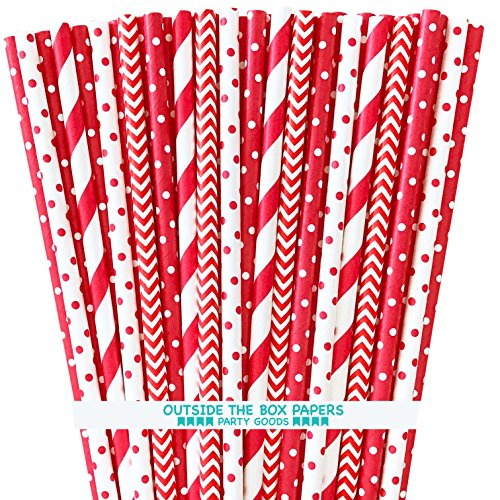 Paper Drinking Straws - Red and White - Stripe Chevron Polka Dot - 7.75 Inches - 100 Pack -