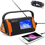 Solar + Hand Crank Digital AM FM NOAA Weather Emergency Radio + Music Player + 4000mah Power Bank Phone Charger & LED Flashli