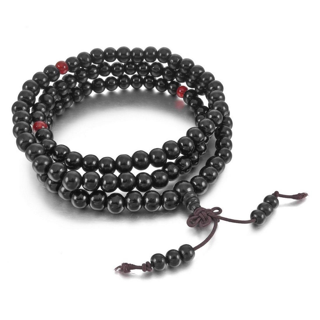 INBLUE Men,Women's 8mm Wood Bracelet Link Wrist Necklace Chain Tibetan Buddhist Black Sandalwood Bead Prayer Buddha Mala Chinese knot Elastic