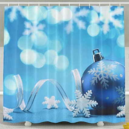 378ae3cc Blue Snowflake Christmas Bauble Shower Curtain Repellent Fabric Mildew  Resistant Machine Washable Bathroom Anti-Bacterial