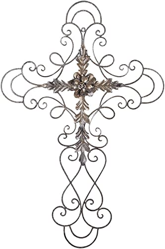Adeco Black Scrolled Flower Cross Metal Wall Decor – Art Oblong Living Room Home Decoration – 27.5×18 Inches