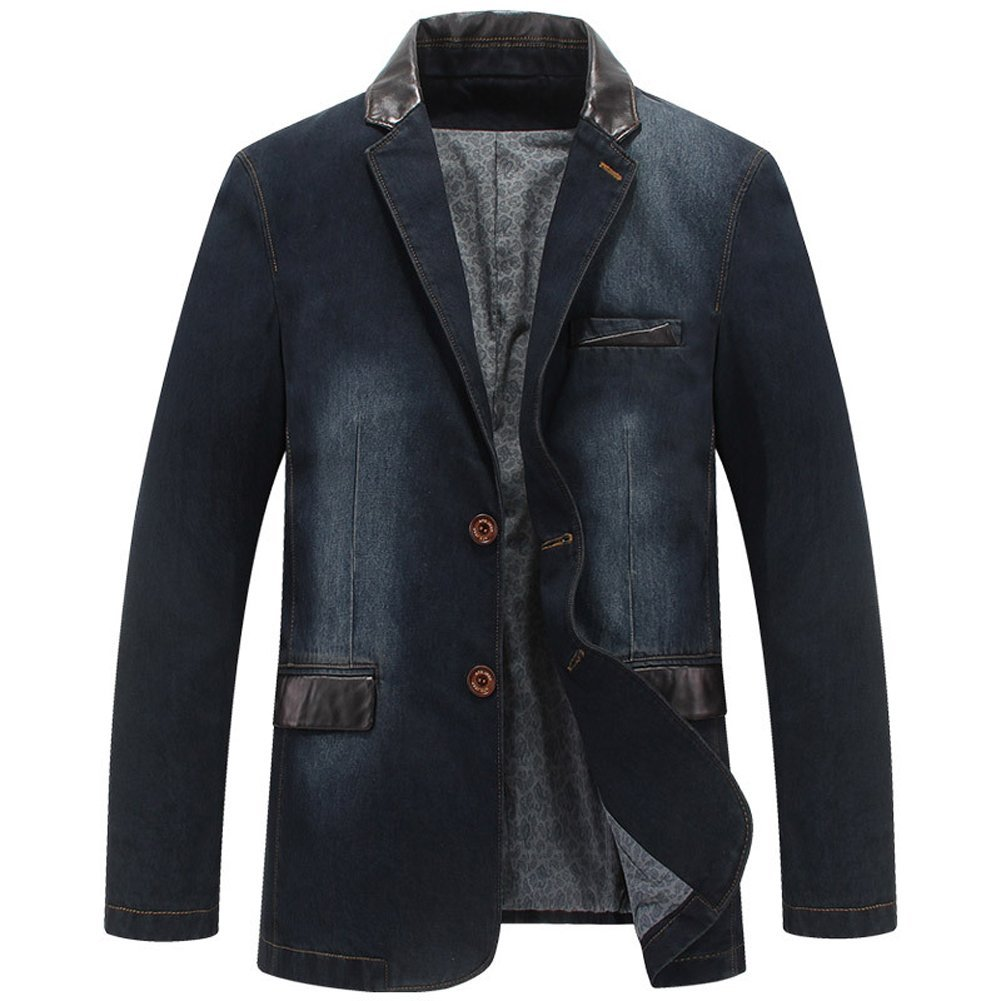 Men's 2 Buttons Denim Blazer Lapel Washed Denim Suit Jacket (X-Large, Dark Blue)