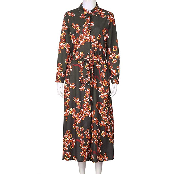YOYOGO ❀Halloween Vestidos Largos para Boda De Noche, Vestido De Manga Larga Estampado Dobladillo