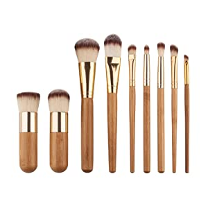 Sunbona 9PC Makeup Brushes Foundation Eyeshadow Eyeliner Blush Powder Lip Brush