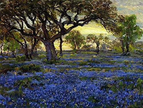 The Museum Outlet - Old Live Oak Tree and Bluebonnets on the West Texas Military Grounds, San Antonio, 1919-20 - Canvas - Antonio Outlets Texas San