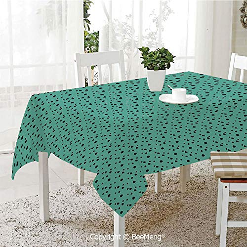 Large dustproof Waterproof Tablecloth,Family Table Decoration,Animal Print,Dalmatian Dog Fur Inspired Little Polka Dots Circles Rounds Image,Jade Green and Black,70 x 104 inches