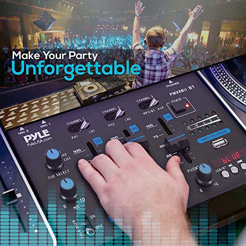 Wireless DJ Audio Mixer – 3 Channel Bluetooth Compatible DJ Controller Sound Mixer, Mic-Talkover, USB Reader, Dual RCA…