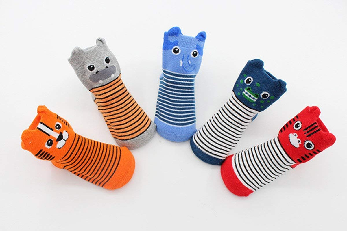 FlyingP Baby Socks 5 Pairs Anti Skid Slip Socks Non Skid Ankle Cotton Socks Baby Walker Grip Socks for 12-36 Months Toddler and Infants by FlyingP (Image #7)