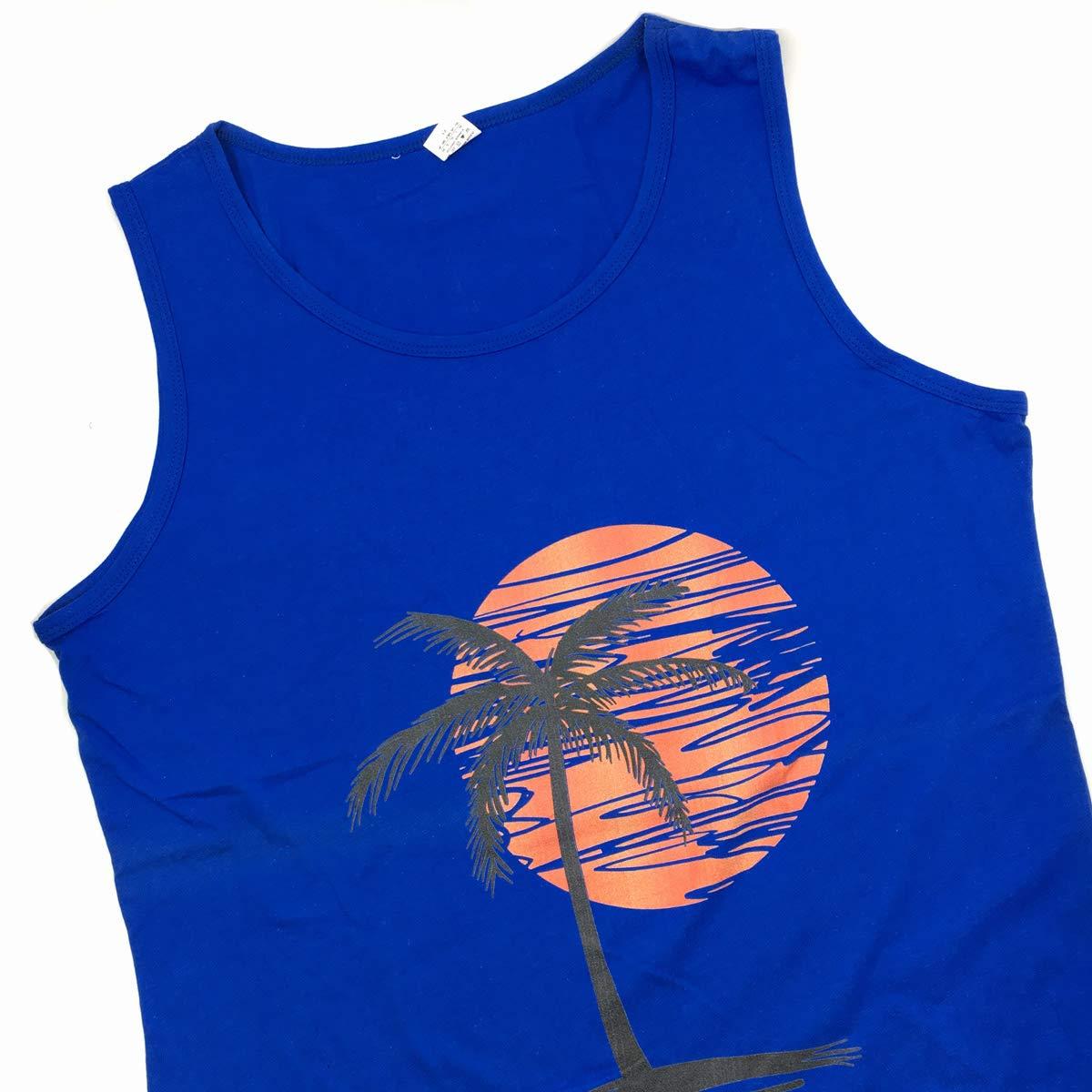 Waldeal Men Palm Tree Sunset Sleeveless Beach Tank Tops Fitness Shirt Size S-3XL