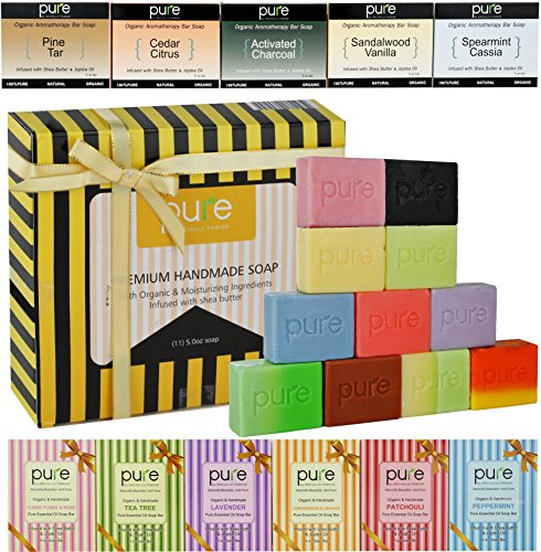 Aromatherapy Soaps! Handmade Soap Bars. Artisan Soap Bars Family Pack for Men Women & Kids! Cold Process Soap Bars in Luxury Gift Box! Deluxe Organic Soap - Natural Body & Face Soap!