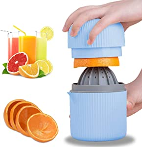 GMISUN Citrus Lemon Orange Juicer Manual Hand Squeezer 2 in 1 Lid Rotation Hand Press Reamer with Strainer and Container (Blue)