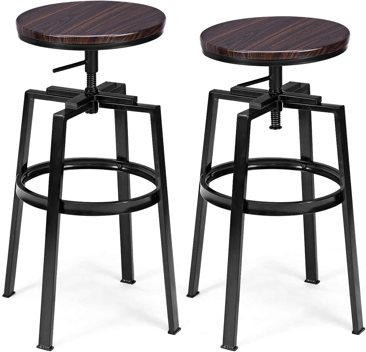 COSTWAY Counter Height Bar Stools, Set of 2, Swivel Adjustable, Round Top Pub Bistro Kitchen Dining Side Chair Mental Barstools with Footrest