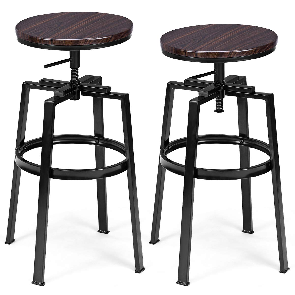 COSTWAY Counter Height Bar Stools, Set of 2, Swivel Adjustable, Round Top Pub Bistro Kitchen Dining Side Chair Mental Barstools with Footrest by COSTWAY