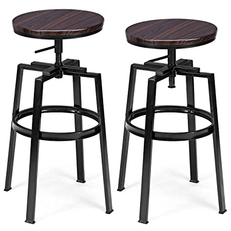 COSTWAY Swivel Bar Stools Set of 2 Modern Contemporary Adjustable Height Round Top Pub Bistro Kitchen Dining Side Chair Barstools with Footrest