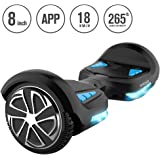 """TOMOLOO Self-Balancing Scooter UL2272 Certified 8"""" Wheel Hoverboard with RGB Lights Bluetooth Speaker Customizable App (Black)"""