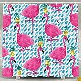 BINGO FLAG Funny Fabric Shower Curtain Flamingo Print Waterproof Bathroom Decor With Hooks 60 X 72 Inch
