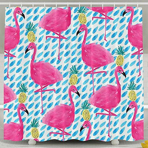 BINGO FLAG Funny Fabric Shower Curtain Flamingo Print Waterproof Bathroom Decor With Hooks 60 X 72 Inch by BINGO FLAG