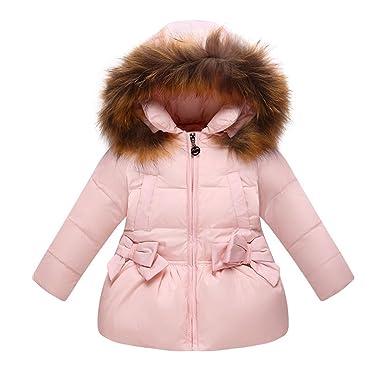 official site new product so cheap LSERVER Doudoune Fille Princesse Manteau d'hiver Automne mi Long Epaisse  Parka à Capuche Fourrure