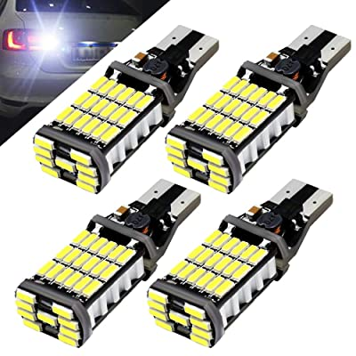 Boodlied 4pcs 9-30v 1000Lumens 921 912 T10 T15 LED Bulbs Super Bright 4014 45SMD Chips Lamps For Reverse Lights,Xenon white.: Automotive