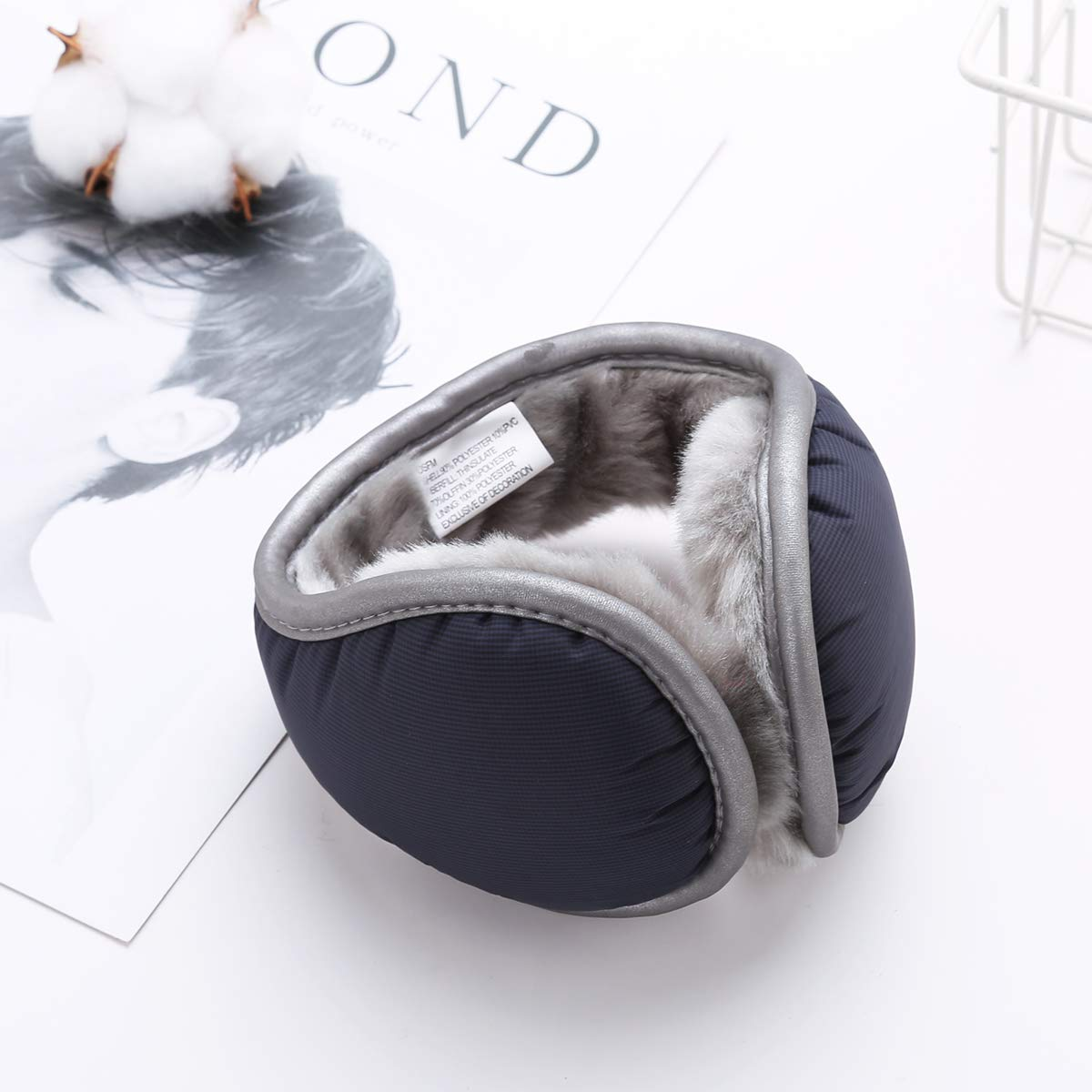 Century Star Foldable Ear Muffs Snowflakes Knitted Solid Winter Ear Warmer Plush Faux Furry Accessory Outdoor Earmuffs