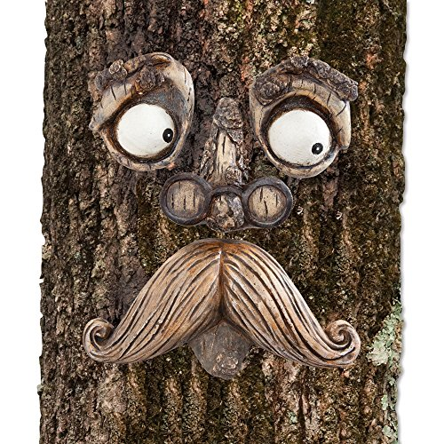 Bits and Pieces-Old Man Tree Hugger - Garden Peeker Yard Art - Outdoor Tree Hugger Sculpture Whimsical Tree Face Garden Decoration -